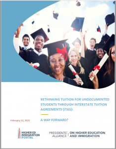 Front cover page of the report. It shows the report title, Rethinking Tuition for Undocumented Students Through Interstate Tuition Agreements, and a picture of a small group of students in graduation attire.